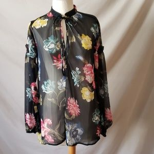 Joe Fresh Floral Sheer Blouse